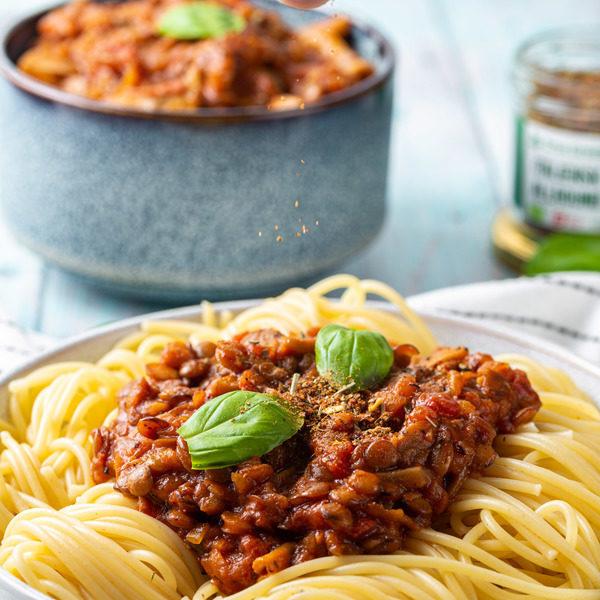 Smagfuld vegansk spaghetti bolognese